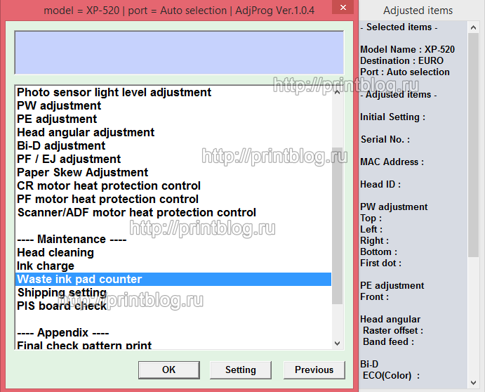 Adjustment program XP520, XP625, XP720, XP760, XP860