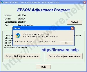 Epson XP530, XP630, XP635, XP830 Adjustment Program