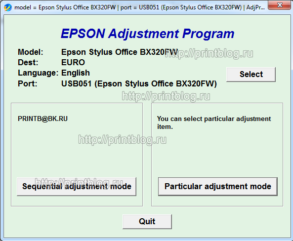 Adjustment program Epson Stylus Office BX320FW (EURO)