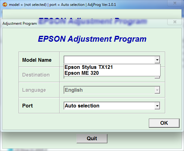 Adjustment program Epson ME320 TX121 (ESP)