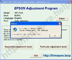 Epson WF-7210, WF-7710, WF-7720 Adjustment Program