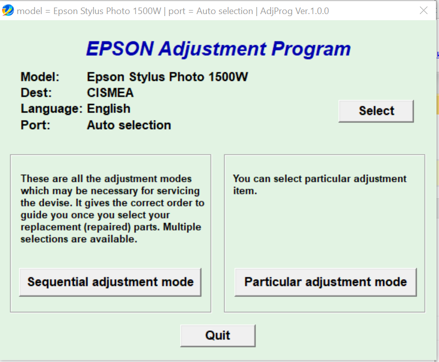 Epson Stylus Photo 1500W Adjustment Program