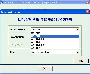 Adjustment Program Epson XP-212, XP-215 Ver.1.0.4