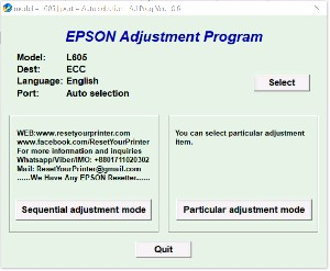 Adjustment Program Epson L605 Ver.1.0.0
